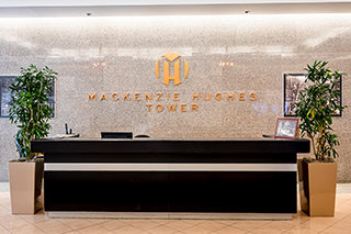 lobby of the Mackenzie Hughes Tower- front desk