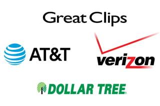 logos for ATT, Verizon, Great Clips, and Dollar Tree